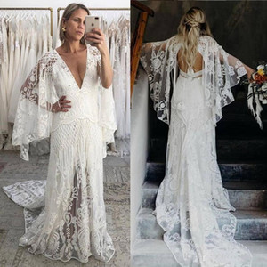 Bohemian 2020 Beach Wedding Dresses V Neck Bell Long Sleeve Lace Open Backless Boho Bridal Gowns Wedding Dress