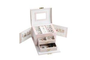 Casegrace joyería caja de 3 capas Organizador de cuero de la PU Joyas Organizador Cajas de casos con el bloqueo y el espejo de la joyería caja de almacenamiento