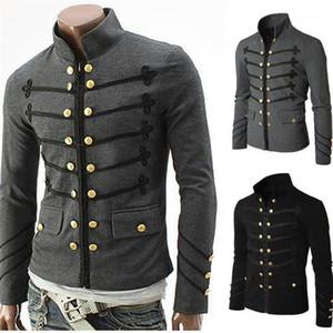 Steampunk Solid Rock Uniform Punk Metal Military Man Coat Casual Designer Mens Outerwear Vintage Men Gothic Jacket
