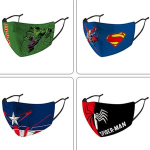 Designer Gesichtsmaske Kinder Maske Anime-Charakter neue Spinnenmann Bat Mann Superheld Kind Maske Kapitän Schild Punisher Deadpool Abdeckung pinished