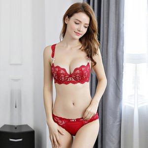 Japanese Deep V Push Up Lace Floar Bra and Panty Set Sexy Lingerie Soft Breathable Cup Elastic Straps Bow Soutien Gorge Y200708