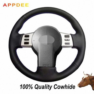 Negro de piel cubierta de la rueda genuino cosido a mano de FX de Infiniti FX35 FX45 2003-2007 350Z 2003-2006 uR7b #