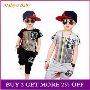 baby boy clothes set 2020 summer new boy striped letters short-sleeved T-shirt + Shorts pants 2 pcs Casual children's clothing