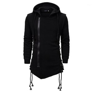 Solid Color Frente Zipper manga comprida moletom com capuz Mens solto Pullover Hoodies 20AW Mens Hoodies Casual Designer