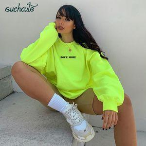 SUCHCUTE femmes Hoodies Neon Green Casual Maigrir Top Hoody Sudadera Mujer Kpop O-Neck Automne 2020 Femme gothique Sweat CX200716