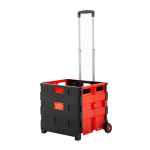 접이식 두 바퀴 트롤리 쇼핑 카트 축소 핸드 롤링 나무 상자 플라스틱