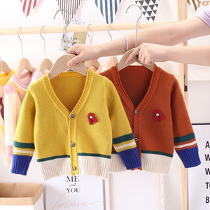 Barou kids autumn new cardigan Korean style cute color Coat sweatersweater sweater matching coat for boys and girls