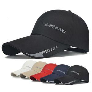 Novo Homens Mulheres Long Brim Outdoor Escalada Pesca Sun Baseball Hat Cap Visor ajustável respirável malha óssea Caps Gorras Chapeue