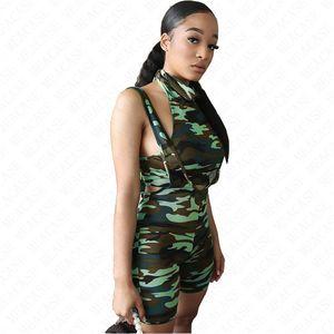 Débardeur été femme Tenues Gilet réservoir Skinny Bodys Salopette camouflage imprimer sexy mince gilet short de bretelles Set D71605