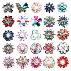10pcs Best Collection Mixed Styles Lot 18mm Ginger Snap Button Top Rhinestone Styles Snap Charms Chunk For 18-20mm Snap Jewelry 14103
