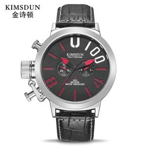 Dial Kimsdun Marca grande caliente de la correa para hombre reloj deportivo Dos Ojos Multi-Función reloj mecánico automático