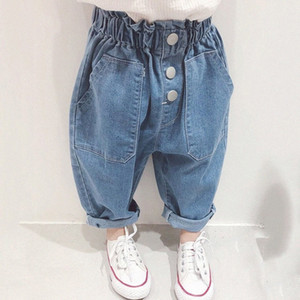 2020 Girl Summer Loose Jeans Pant Kids Children Casual Denim Trousers FTSD#