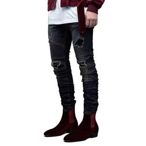 Mens Designer Jeans Distressed Ripped Biker Slim Fit Motorcycle Biker Denim for Men Fashion Mans Black Pants 20ss Pour Hommes Fashion