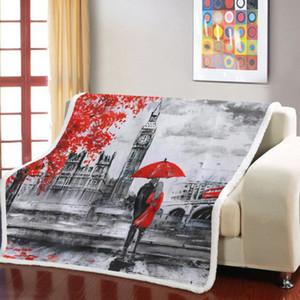 Retro London Stampa Coperta Divano Quilt Cover Viaggi peluche tiro coperta in pile copriletto famosi edifici Sherpa Fleece
