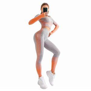 2pcs set Women Sport Suit Yoga Set Long Sleeve Fitness Crop Top High Waist Energy Seamless Leggings Female Workout Pants Shirts