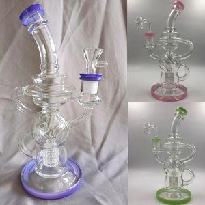 New Arrivial 26 cm tall purple green pink glass tube recyler tire inner glass water bongs 14.4mm glass banger for smoking