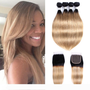 Ombre Blonde Hair Bundles With Closure 1B 27 honey blonde Brazilian Straight Hair remy human hair Extensions 4 Bundles With 4x4 Lace Closure