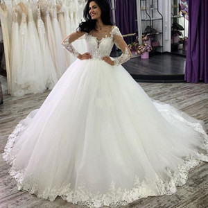 Princess Ball Gown Wedding Dress Arabic Long Sleeves Scoop Buttons Back Lace Appliques Puffy Mariage Wedding Gown Vestidos