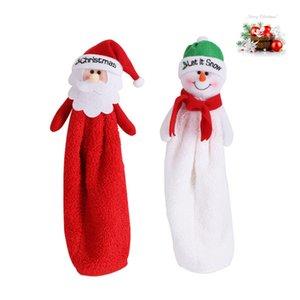 크리스마스 주방 핸드 타올 벽 매달려 수건 만화 산타 눈사람 패턴 산호 벨벳 물 흡수성은 수건을 닦아
