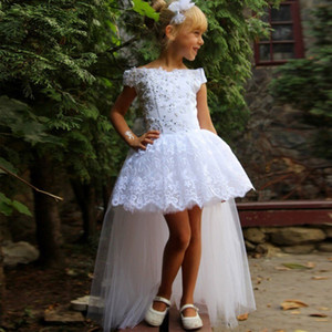 White Lace Wedding Party Flower Girl Dress Off Shoulder High Low Beaded Appliques Kids Holy Birthday Party Prom Pageant Dresses