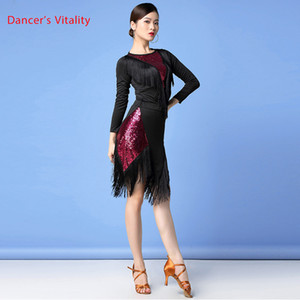 New Women Dance Clothes Salsa Samba 2 pieces Set Fringes Dress Saxy Latin Costume Sequins Top and Skirt