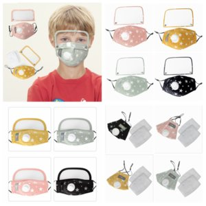 kids face mask with eye shield dustproof washable cotton breathable valve mask cycling reusable protective face mask YYA211