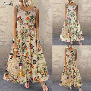 Dresses Women Plus Size Summer 2020 Boho O Neck Floral Print Long Maxi Dress Robe Female Vintage Sleeveless Long Dress Vestido