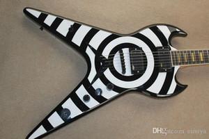 Incomum Forma Guitarra Elétrica preta com Círculo Branco, Palisander Griffbrett, Ferragens Pretas, oferecendo serviços personalizados