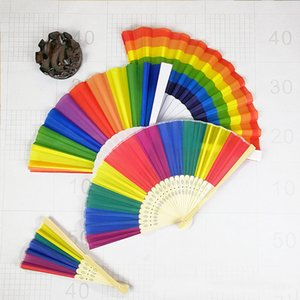 Rainbow Hand Held Fan For Party Decoration Plastic Folding Dance Fan Gift Party Favor DHL SHIp HH9-2294