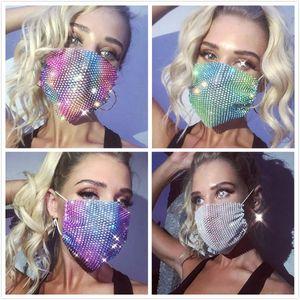 Glitter Bling Bling Sequins Máscara Facial Máscara Dustproof lavável à prova de vento reutilizável Máscara Facial Elastic Earloop respirável para Partido Nightclub