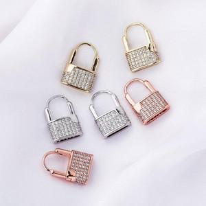 Rame con diamante Gold Lock Orecchini Moda Full Diamond Lock Borchie Earborts Nuovi Orecchini Creativo Popolare