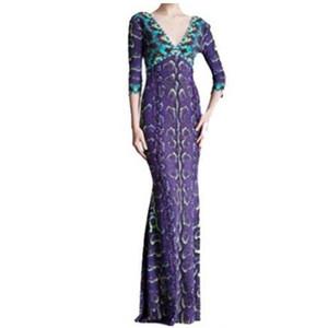 Runway epucci Designer Dress Women's V-neck Charming Purple Printed Stretch Jersey Silk Long Maxi Dress,S-XXL