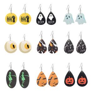 2020 orecchini di cuoio del nuovo progettista di Halloween per le donne nere Abita Materia fiori di zucca stampa del cranio petalo goccia di gioielli regalo Orecchini