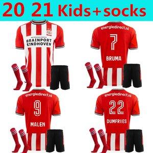 KIDS +socks 20 21 PSV EINDHOVEN soccer jersey 2020 2021 football shirt MALEN camisa de futebol IHATTAREN DUMFRIES GAKPO BRUMA LAMMERS HOME