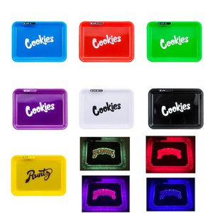 Cookies Runtz Backwoods California Glowtray Blue Red Green Yellow LED Rolling Glow Tray for Rolling 420 Dry Herb Flower With Box