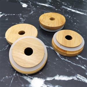 Бамбуковый бутылки уплотнение крышки вверх Пояс очки Lid Вуд Круговая Mason Jar Cap Вуд Кубок Hollow 70мм 80мм 3 8HX C2