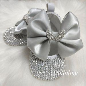 Dollbling Кристалл Wing Silver Крестины Baby Girl Botties Первого причастия Балерина Bithday Фотографирование Младенческого платье обувь OyeO #