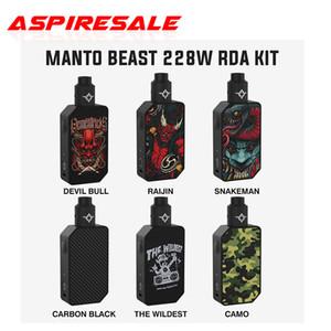 Authentique Rincoe Manto Beast 228W RDA Kit avec double 18650 cellules et Rincoe Métis RDA avec 810 Astuce goutte à goutte