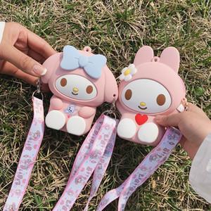 Sevimli Anime Çizgi My Melody Sikke Çantalar Messenger Çanta Crossbody Kutusu Küçük Silikon Cüzdan Çocuk Kız Cüzdan Para Çantası