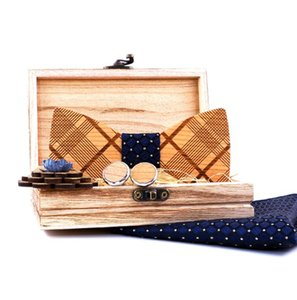 MENS GRAID WOODEN BOW TIE WHITE CUFFLINKS BROOCH POCKET SQUARE SET Geometric strips WOOD TIES DORP SHIPPING