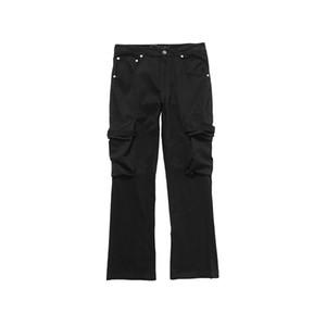 Pantalones Negro verde militar nuevo estilo del verano de carga multi-lazo del bolsillo de los hombres pantalones casuales mujeres sueltan