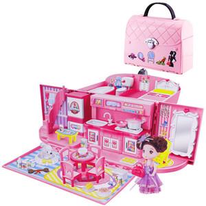 DIY Dollhouse For LOL Doll Handbag Doll Accessories Cute House Miniatures Kids Villa Kitchen Light Music Toys Suit For Children MX200414