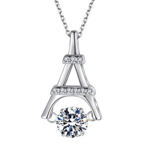 Beautiful High Quality 925 Sterling Silver CZ Stone Dancing Diamond Dancing CZ Eiffel Tower Pendant Necklace For Gift