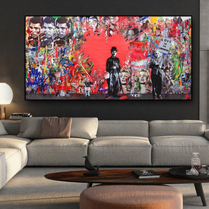 Abstract Wall Art Red Heart Pop Art Canvas Oil Painting Graffiti Street Art Posters Prints Wall Picture for Living Room Modern Home Decor