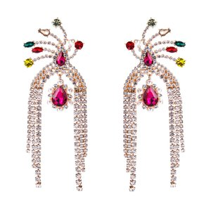 EH7979 exaggerated alloy multilayer tassel earrings Diamond female fashion bohemian style hot sale