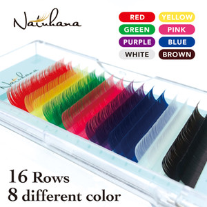 NATUHANA 16rows 8 لون مختلف مزيج رمش تمديد الفردية المنك الرموش الصناعية الملونة الحرير اللون رموش