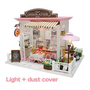 DIY Doll House Miniature Sweet Chocolate Waiting Time Store Dollhouse With Furnitures WoodenToys For Children Birthday Gifts MX200414