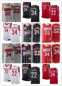 CUSTOM 2020 para hombre de HoustoncohetesNBA 34 HakeemOlajuwon 22 Clydemarina negro Drexler retroceso jerseys del baloncesto Blanco Rojo