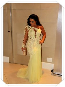 Sheer Lace Appliques One Shoulder Evening Dresses 2021 Yellow Chiffon Long Evening Gowns Customize Prom Dresses