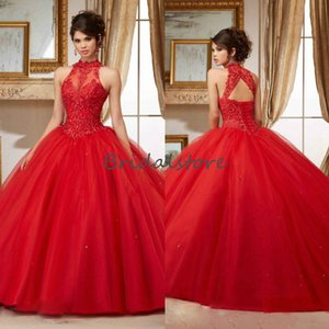 Sexy Red Quinceanera Dresses High Neck Lace Appliques Ball Gown Prom Party Gowns 2020 Open Back Corset Brithday Sweet 16 Dress 2020